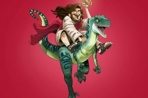 reptiles digital art velociraptors men fan art jesus christ sandals mantle gabirotcho  red background