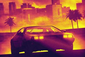 retrowave old car car dmc delorean cityscape yellow palm trees retrowave