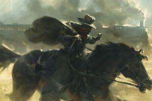 robbery smoke train revolver outlaws  horse