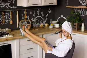 robes kitchen women high heels model towel head sitting legs legs up