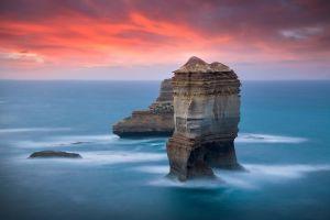 rock nature australia sea sky