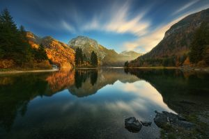 rocks horizon clouds reflection mountains house landscape forest krzysztof browko lake sky mirrored nature trees
