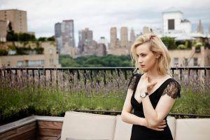 rooftops black dress black clothing sarah gadon blonde portrait blue eyes looking into the distance women actress