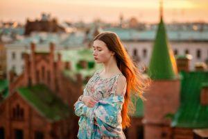 rooftops brunette model arms crossed dress women outdoors long hair women