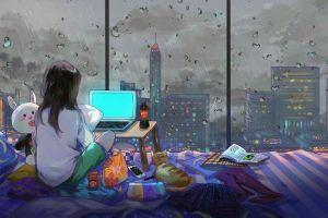 room artwork city anime girls