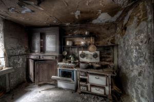 room house kitchen interior old ovens ruin