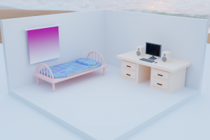 room minimalism bed isometric colorful computer blender