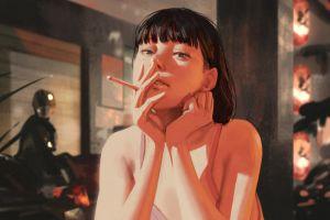rui li women cigarettes looking at viewer