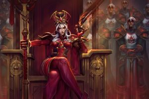 sally whitemane white hair blizzard entertainment scarlet_crusade artwork video games heroes of the storm digital art women world of warcraft warcraft tight clothing