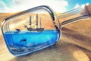 sand bottles ship in a bottle