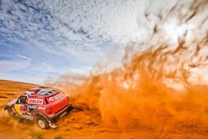 sand vehicle mini cooper racing desert rally car