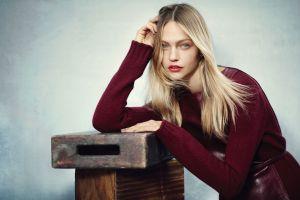 sasha pivovarova dyed hair actress red sweater blonde blue eyes women red lipstick looking at viewer model