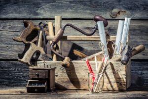 saw tools nails pencils wood hammer