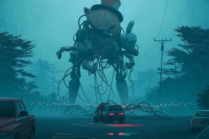 science fiction dystopian car robot giant simon stålenhag city artwork digital art futuristic