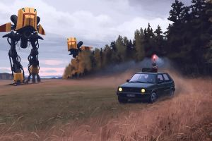 science fiction landscape simon stålenhag artwork robot car digital painting