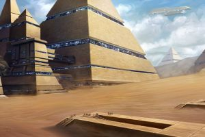 science fiction planet spaceship pyramid
