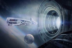 science fiction space station fantasy art spaceship digital art futuristic space planet space art universe