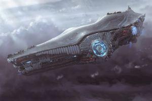 science fiction spaceship vehicle dmitrii ustinov artwork