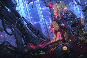 science fiction women artwork futuristic cyberpunk