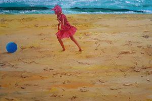 sea children beach painting