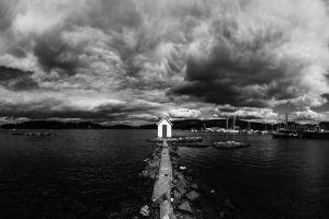 sea mountains clouds house ship monochrome