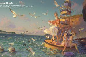 sea seagulls anime girls anime