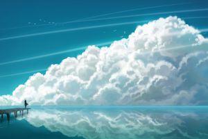 sea sky landscape anime anime girls clouds