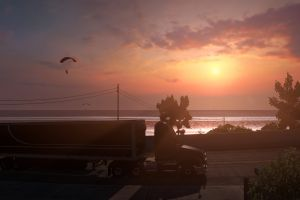 sea sunset side view american truck simulator clouds trees parachutes