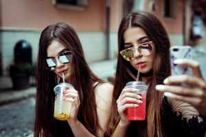 selfies white nails portrait women sunglasses two women red nails
