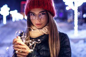 sergey sorokin winter women with glasses women urban lights women outdoors