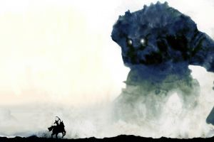shadow of the colossus warrior horror fantasy art giant artwork minimalism
