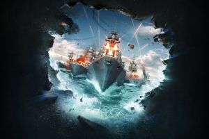 ship video games pc gaming world of warships  video game art battle