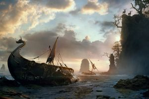 shipwreck clouds fantasy art vikings boat artwork