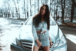shirt alexander belavin women portrait denim skirt high waisted women with cars women outdoors