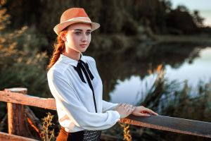 shirt braided hair railings nastya vinogradova aleksandr suhar women outdoors lagoon portrait depth of field wood blue eyes model white shirt looking into the distance
