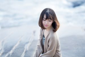short hair closed eyes photography dyed hair asian beach women smiling model long eyelashes brunette
