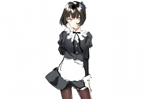 short hair maid anime minimalism simple background anime girls manga