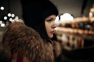 side view dmitry sedykh city women woolly hat wool cap outdoors looking away women outdoors lights brunette profile model jacket fur