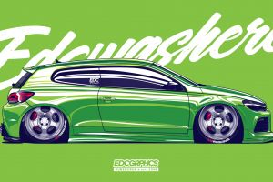 side view volkswagen scirocco volkswagen edc graphics german cars green cars render