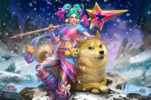 simon eckert pink hair spear blue hair brunette doge shiba inu women smite monkey snow dog winter tie staff