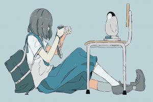 simple background anime girls penguin anime sitting camera school uniform