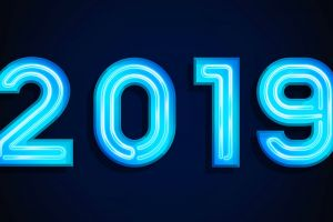 simple background blue background numbers 2019 (year)