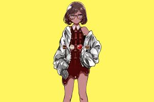 simple background brunette chocolate brown anime manga yellow anime girls