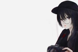simple background hate-chan women with glasses looking at viewer aoi ogata original characters digital art black clothing artwork minimalism illustration camera black hair