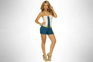 simple background legs daniela sanchez hands on hips women smiling blonde high heels pants model