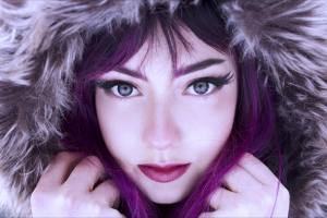 singer blue eyes makeup veela women outdoors violet hair face women hoods lipstick