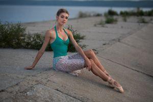 sitting ballet slippers women dmitry shulgin model women outdoors brunette