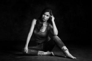 sitting barefoot women model monochrome