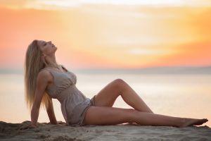 sitting closed eyes profile aleksey lozgachev model tiptoe sunset women on beach women beach blonde barefoot dress legs women outdoors