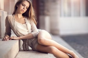 sitting legs barefoot stairs alone see-through blouse model sad glamour women shorts blouse blonde women outdoors depth of field long hair